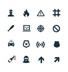 crime justice icons set vector image vector image