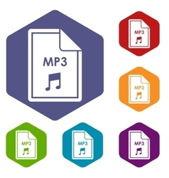 File MP3 icons set vector image vector image