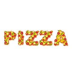 Pizza text Letters of Appetizing slices of pizza vector image