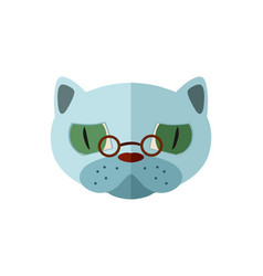 russian blue cat head with glasses icon vector image vector image