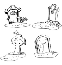 scary tombstones in Halloween night vector image vector image