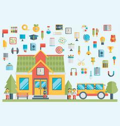education school university flat icon set vector image