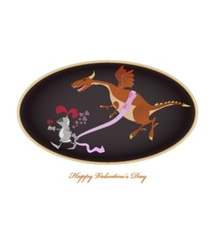 Funny picture with knight and dragon Valentine vector image