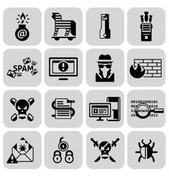 Hacker icons set black vector image vector image