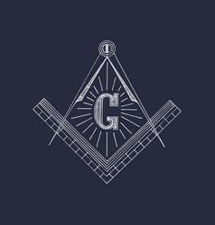masonic square and compass symbols hand drawn vector image
