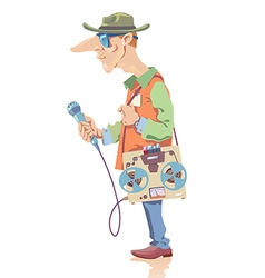 Reporter with the Tape Recorder vector image
