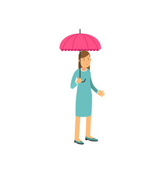 young woman standing under pink umbrella vector image vector image