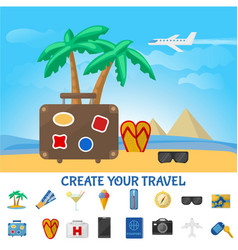 colorful summer travel composition vector image