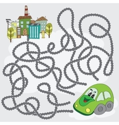 Funny maze game - help the car find way to city vector image vector image