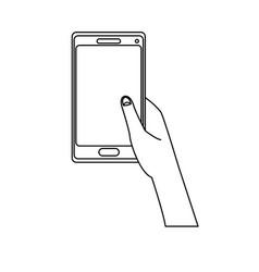 hand holding smartphone application digital vector image