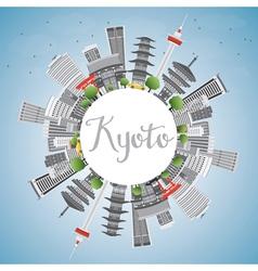 Kyoto Skyline with Gray Landmarks vector image vector image