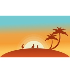 Landscape bird and palm of silhouettes vector