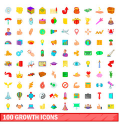 100 growth icons set cartoon style vector image
