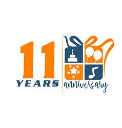 11 years gift box ribbon anniversary vector image