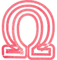 Abstract omega symbol made with red marker vector