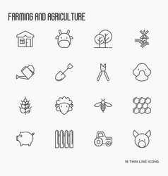 agriculture icons with different animals tools vector image