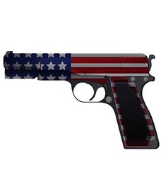 America Gun Pistol Crime Isolate vector