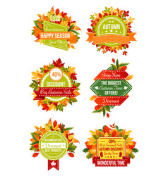 Autumn season sale label set with fall leaf frame vector