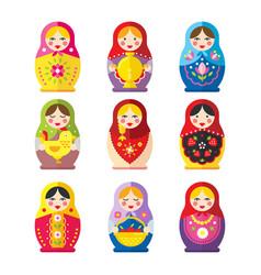Babushka dolls set in a flat style vector