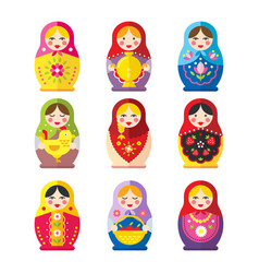 babushka dolls set in a flat style vector image