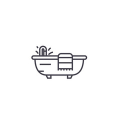 bath with a towel line icon sign vector image