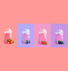 Berries smoothie set vector