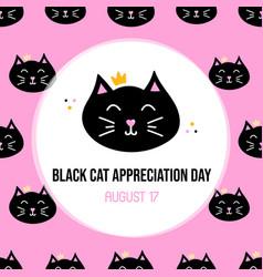 Black cat appreciation day card vector
