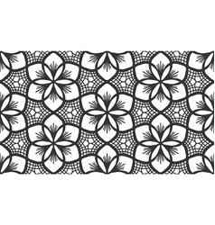 black lace flower bud seamless pattern floral tile vector image