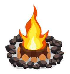 bonfire burning woodpile and round stones vector image