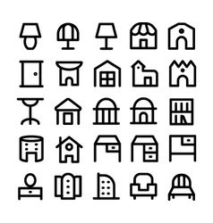 Buildings and Furniture Icons 13 vector image