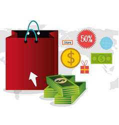 buy on line with shopping bag vector image