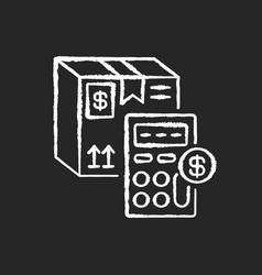 calculating cargo price chalk white icon on black vector image