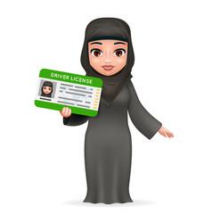 Cartoon character female arab car driver license vector
