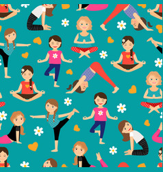 cartoon girls yoga seamless pattern vector image