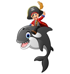Cartoon pirate ride whale vector