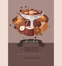 chocolate sweets poster best vector image