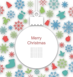 Christmas Paper Card with Traditional Elements vector image