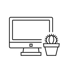 computer with cactus icon in thin line style vector image