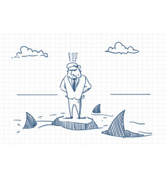 confused business man doodle standing on rock with vector image
