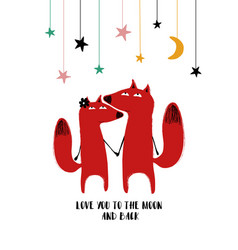 couple foxes staring at stars vector image