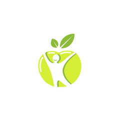 Creative green apple healthy body logo vector