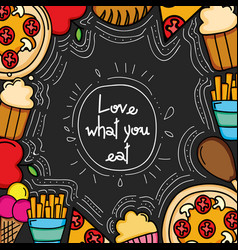delicious food frame border icons vector image