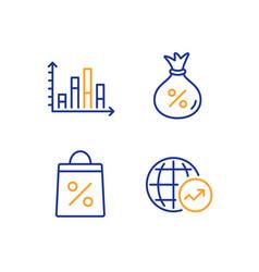 Diagram graph shopping bag and loan icons set vector