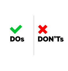 dos donts check tick mark red cross icons vector image