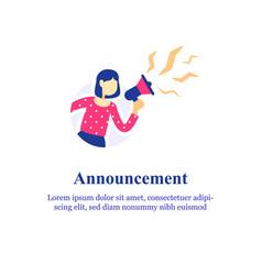 Event announcement woman holding megaphone vector
