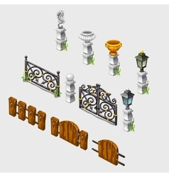 Fence columns antique vases and other items vector