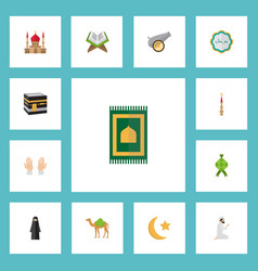flat icons prayer carpet new lunar mecca and vector image vector image