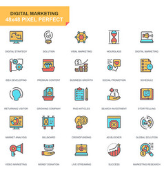flat line business and marketing icons set vector image