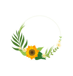 Floral circle frame with sunflower green leaves vector