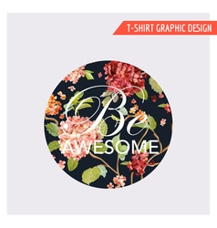 Floral Hortensia Card Graphic Design - for T-shirt vector